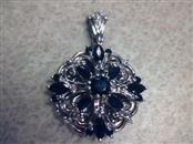 Blue Stone Silver-Diamond & Stone Pendant 5 Diamonds .05 Carat T.W. 925 Silver